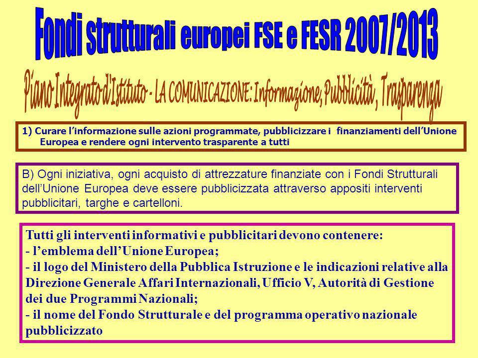 B) Ogni iniziativa, ogni acquisto di attrezzature finanziate con i Fondi Strutturali dell'Unione Europea deve essere pubblicizzata attraverso appositi interventi pubblicitari, targhe e cartelloni.