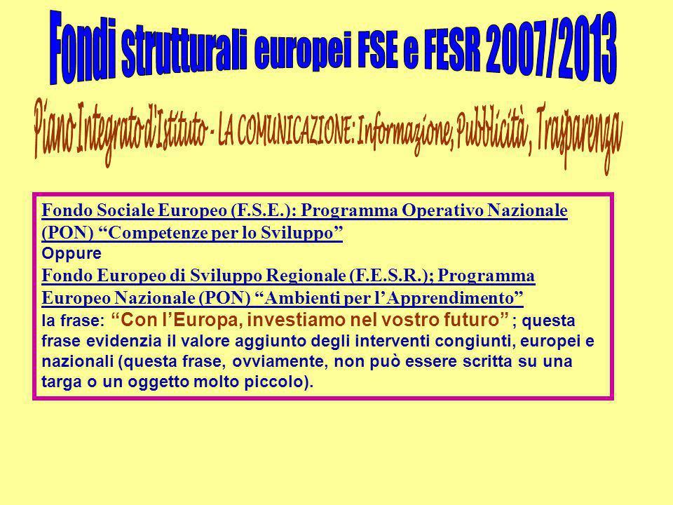 """Fondo Sociale Europeo (F.S.E.): Programma Operativo Nazionale (PON) """"Competenze per lo Sviluppo"""" Oppure Fondo Europeo di Sviluppo Regionale (F.E.S.R.)"""