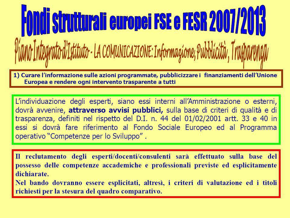 1) Curare l'informazione sulle azioni programmate, pubblicizzare i finanziamenti dell'Unione Europea e rendere ogni intervento trasparente a tutti L'i