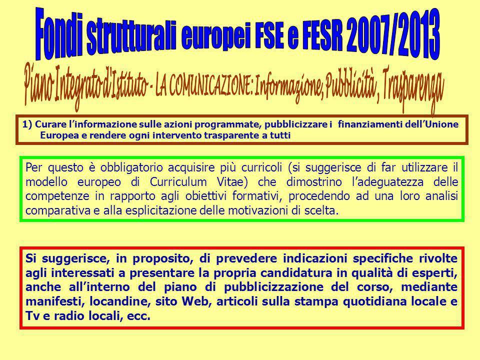 1) Curare l'informazione sulle azioni programmate, pubblicizzare i finanziamenti dell'Unione Europea e rendere ogni intervento trasparente a tutti Per