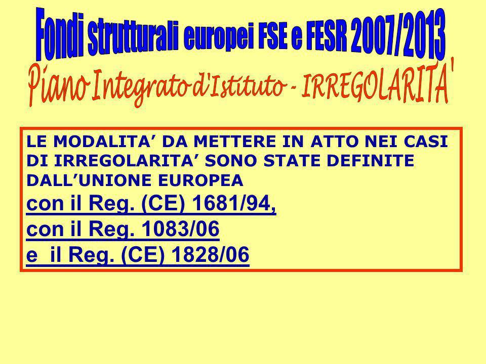 LE MODALITA' DA METTERE IN ATTO NEI CASI DI IRREGOLARITA' SONO STATE DEFINITE DALL'UNIONE EUROPEA con il Reg. (CE) 1681/94, con il Reg. 1083/06 e il R