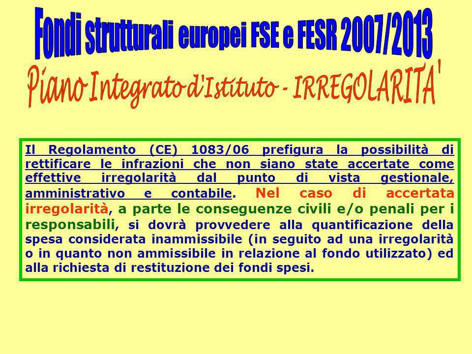 Il Regolamento (CE) 1083/06 prefigura la possibilità di rettificare le infrazioni che non siano state accertate come effettive irregolarità dal punto