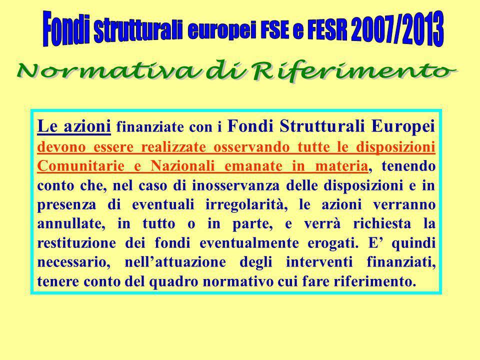 Le azioni finanziate con i Fondi Strutturali Europei devono essere realizzate osservando tutte le disposizioni Comunitarie e Nazionali emanate in materia, tenendo conto che, nel caso di inosservanza delle disposizioni e in presenza di eventuali irregolarità, le azioni verranno annullate, in tutto o in parte, e verrà richiesta la restituzione dei fondi eventualmente erogati.