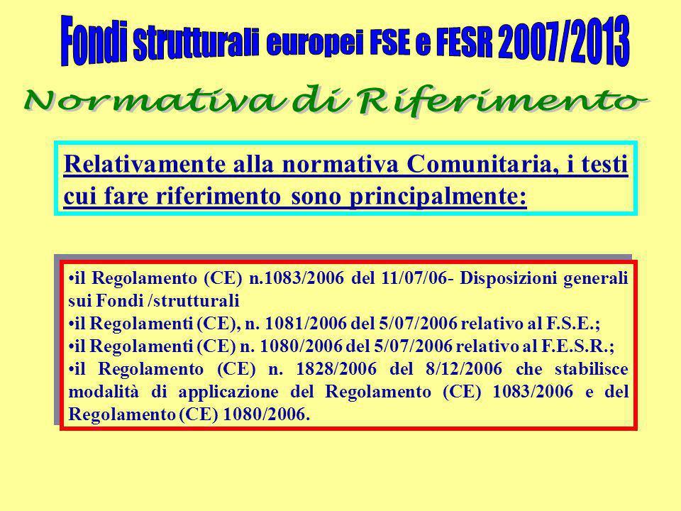 Relativamente alla normativa Comunitaria, i testi cui fare riferimento sono principalmente: il Regolamento (CE) n.1083/2006 del 11/07/06- Disposizioni generali sui Fondi /strutturaliil Regolamento (CE) n.1083/2006 del 11/07/06- Disposizioni generali sui Fondi /strutturali il Regolamenti (CE), n.