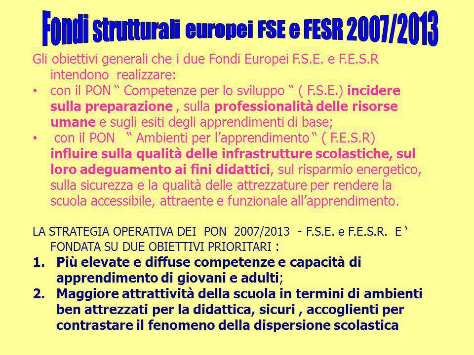 """Gli obiettivi generali che i due Fondi Europei F.S.E. e F.E.S.R intendono realizzare: con il PON """" Competenze per lo sviluppo """" ( F.S.E.) incidere sul"""