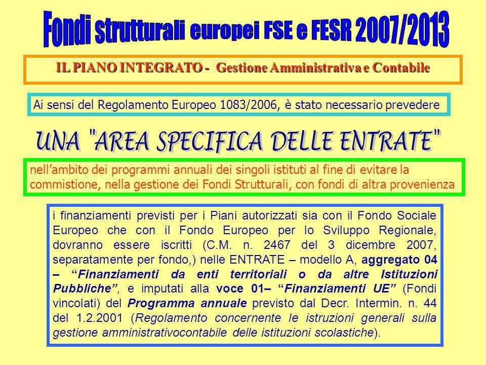 IL PIANO INTEGRATO - Gestione Amministrativa e Contabile Ai sensi del Regolamento Europeo 1083/2006, è stato necessario prevedere nell'ambito dei programmi annuali dei singoli istituti al fine di evitare la commistione, nella gestione dei Fondi Strutturali, con fondi di altra provenienza i finanziamenti previsti per i Piani autorizzati sia con il Fondo Sociale Europeo che con il Fondo Europeo per lo Sviluppo Regionale, dovranno essere iscritti (C.M.