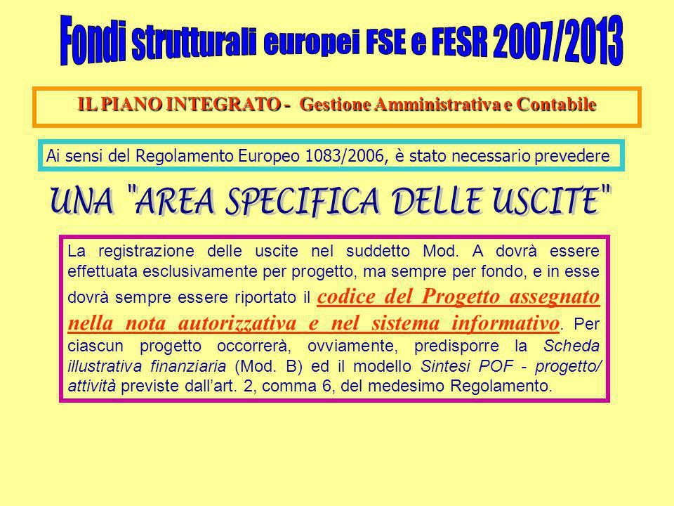 IL PIANO INTEGRATO - Gestione Amministrativa e Contabile Ai sensi del Regolamento Europeo 1083/2006, è stato necessario prevedere La registrazione delle uscite nel suddetto Mod.