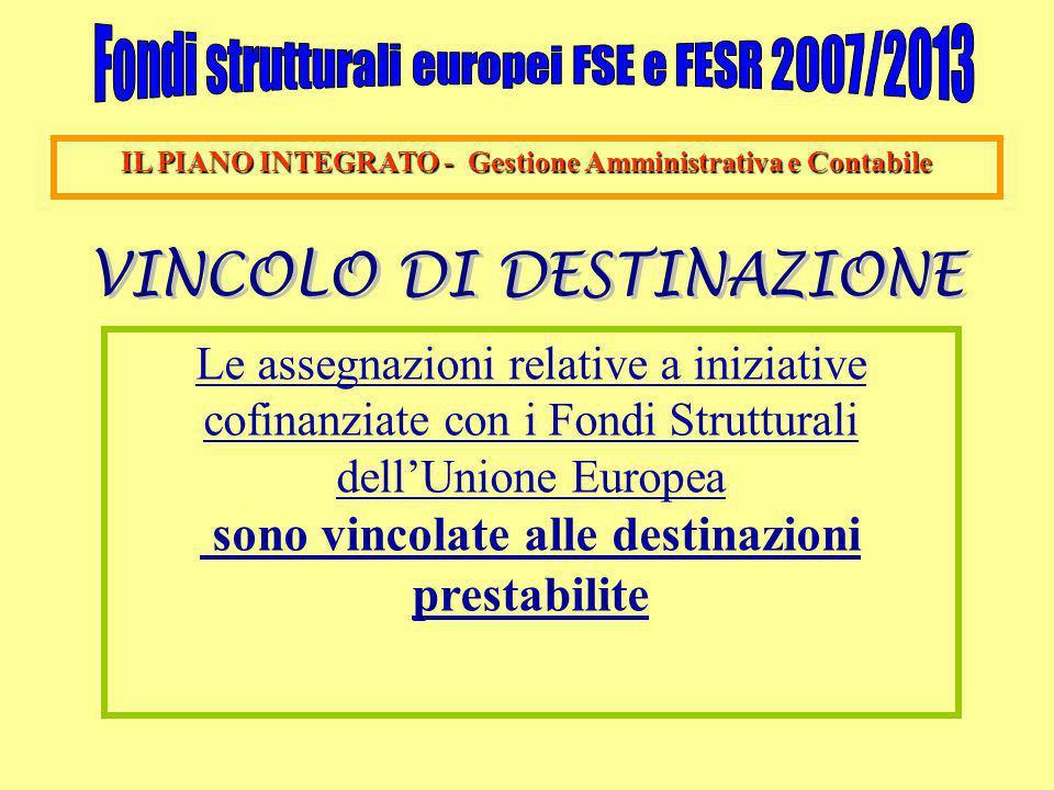 IL PIANO INTEGRATO - Gestione Amministrativa e Contabile Le assegnazioni relative a iniziative cofinanziate con i Fondi Strutturali dell'Unione Europea sono vincolate alle destinazioni prestabilite
