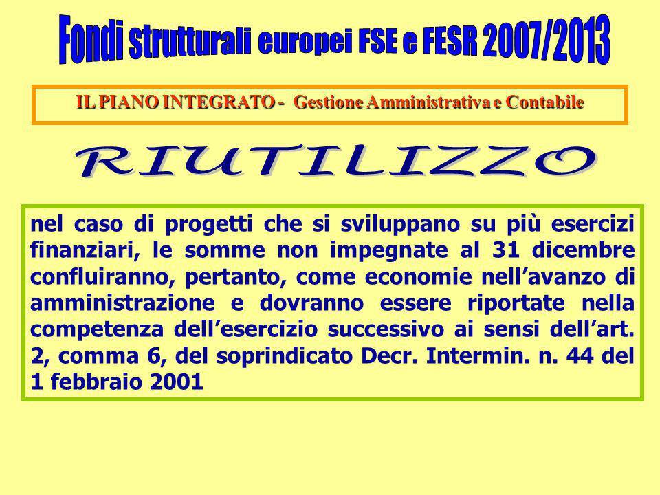 IL PIANO INTEGRATO - Gestione Amministrativa e Contabile nel caso di progetti che si sviluppano su più esercizi finanziari, le somme non impegnate al