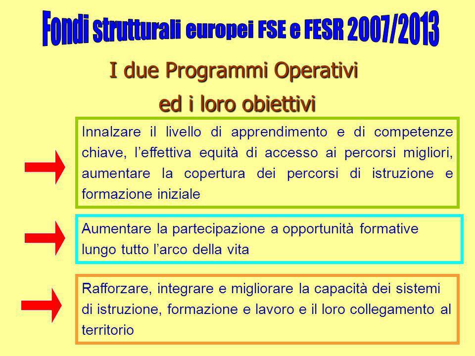 I due Programmi Operativi ed i loro obiettivi Rafforzare, integrare e migliorare la capacità dei sistemi di istruzione, formazione e lavoro e il loro
