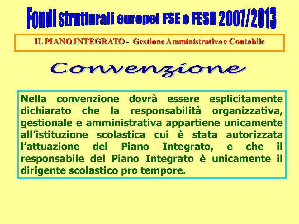 IL PIANO INTEGRATO - Gestione Amministrativa e Contabile Nella convenzione dovrà essere esplicitamente dichiarato che la responsabilità organizzativa,