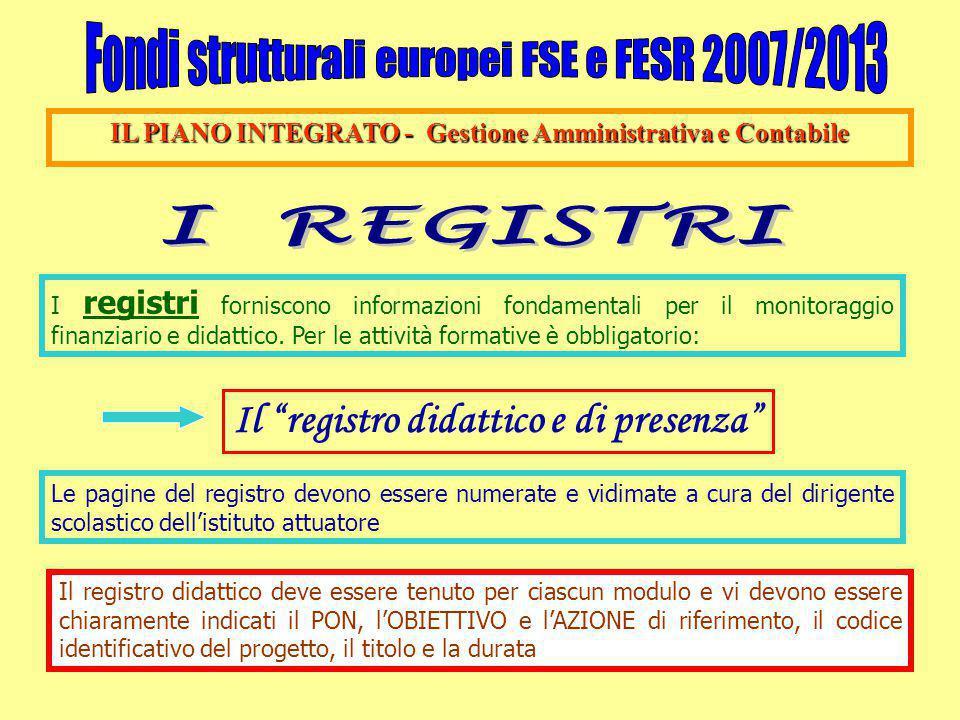 IL PIANO INTEGRATO - Gestione Amministrativa e Contabile I registri forniscono informazioni fondamentali per il monitoraggio finanziario e didattico.