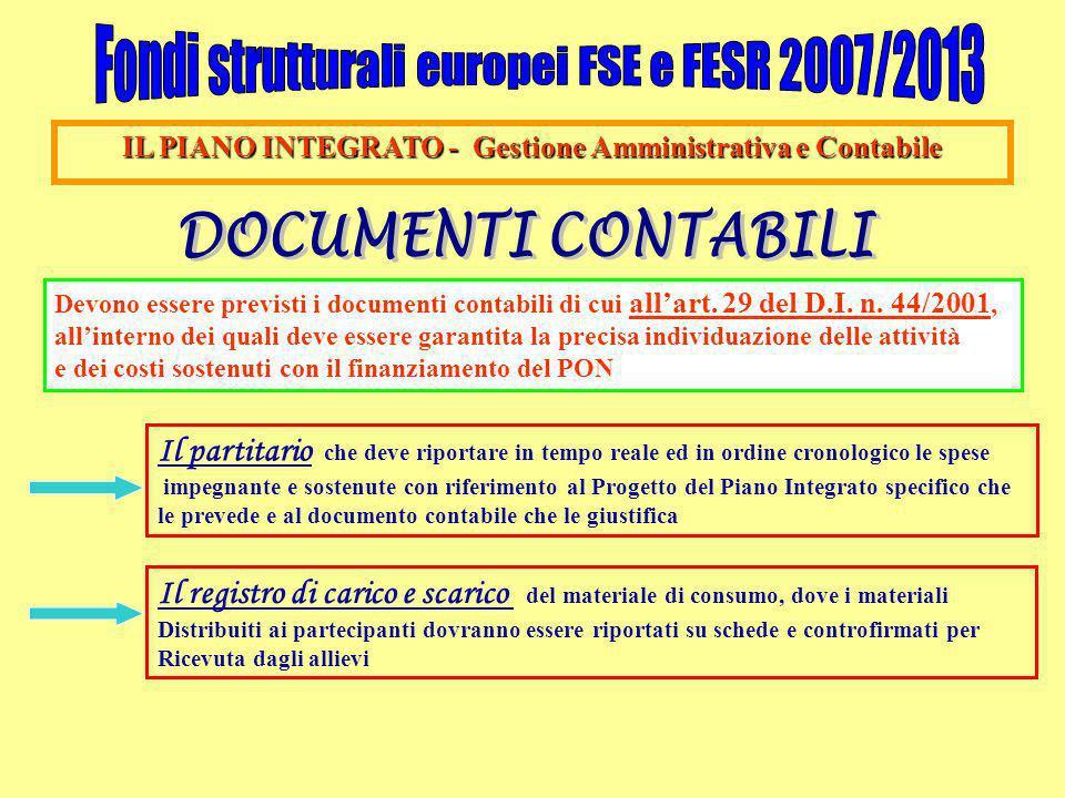 IL PIANO INTEGRATO - Gestione Amministrativa e Contabile Devono essere previsti i documenti contabili di cui all'art. 29 del D.I. n. 44/2001, all'inte