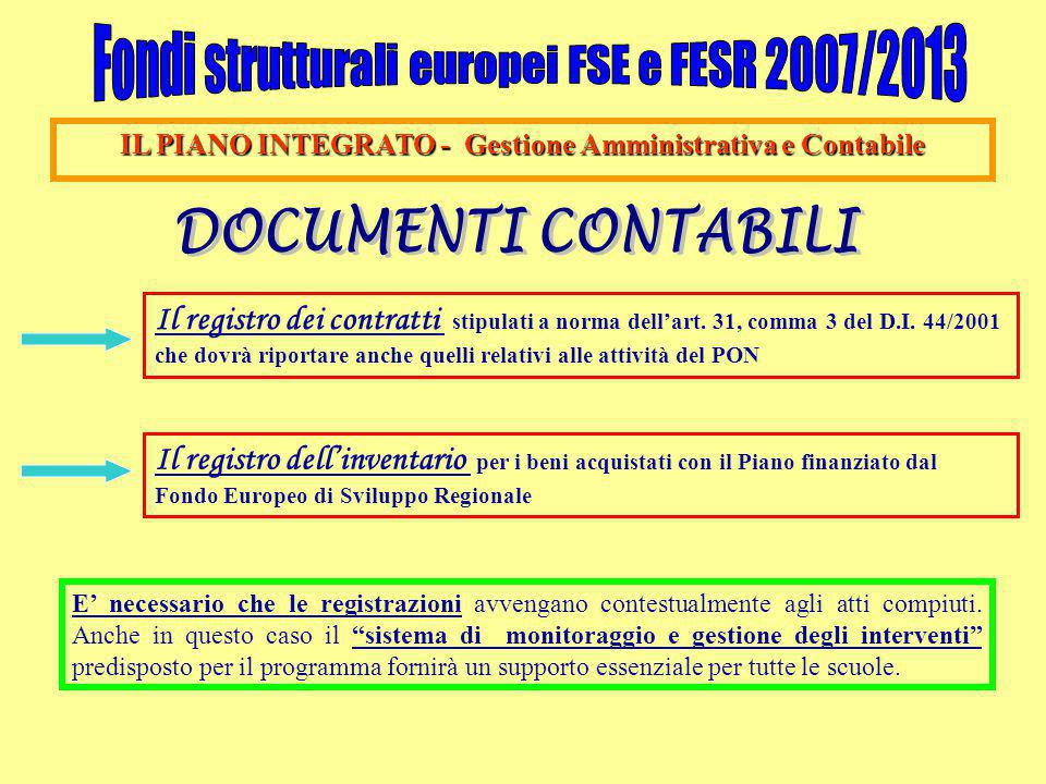 IL PIANO INTEGRATO - Gestione Amministrativa e Contabile Il registro dei contratti stipulati a norma dell'art. 31, comma 3 del D.I. 44/2001 che dovrà
