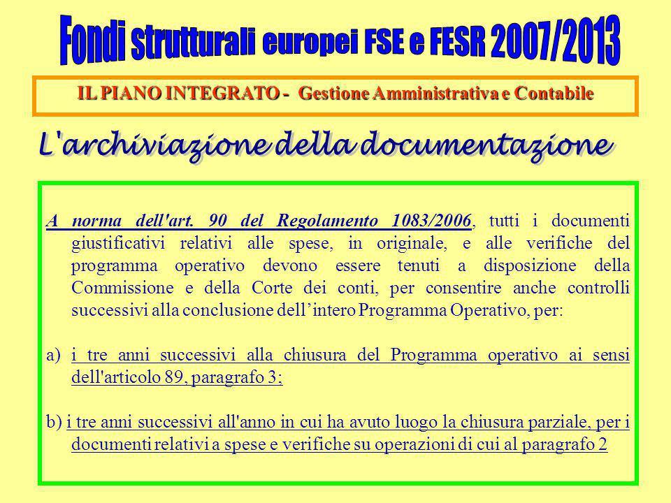 IL PIANO INTEGRATO - Gestione Amministrativa e Contabile A norma dell'art. 90 del Regolamento 1083/2006, tutti i documenti giustificativi relativi all