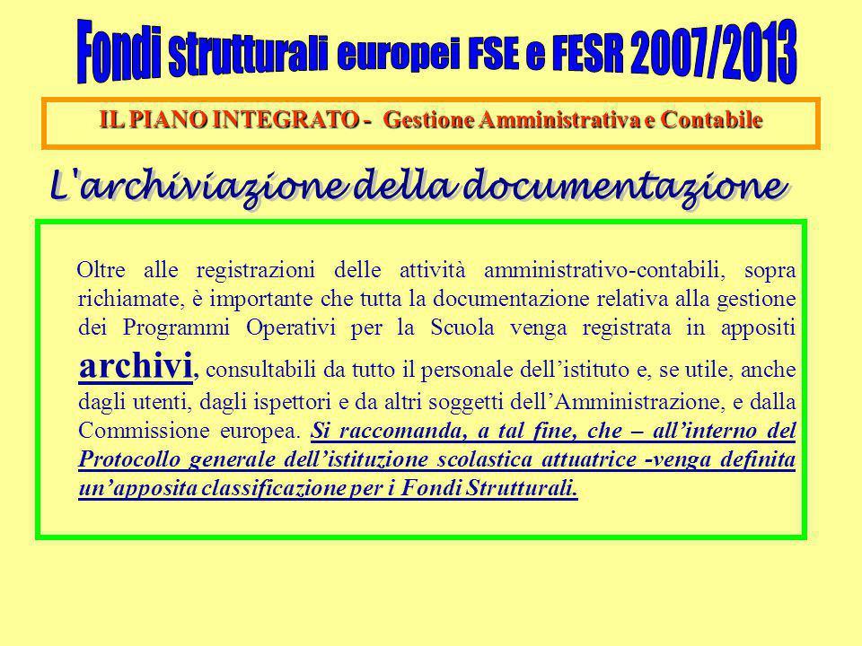 IL PIANO INTEGRATO - Gestione Amministrativa e Contabile Oltre alle registrazioni delle attività amministrativo-contabili, sopra richiamate, è importa
