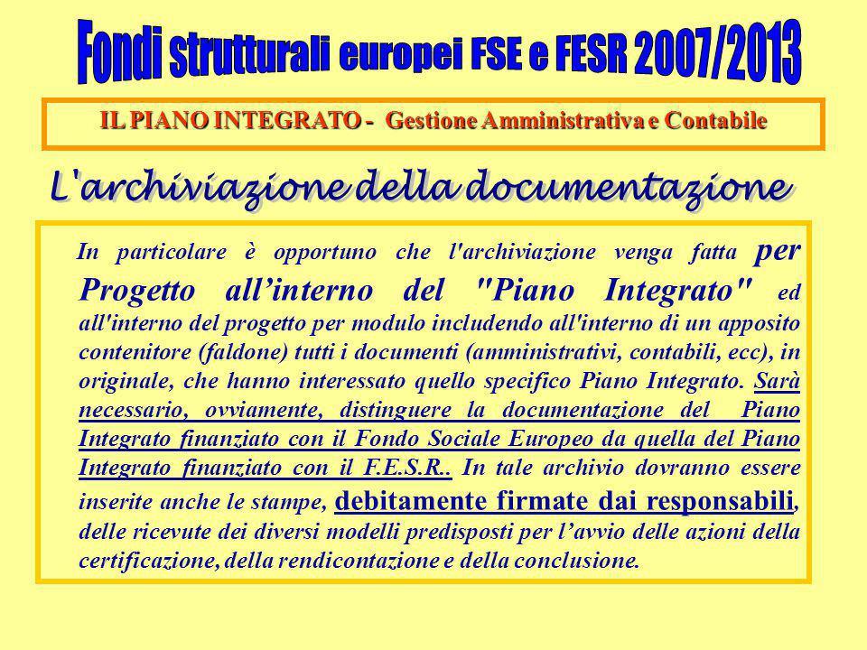 IL PIANO INTEGRATO - Gestione Amministrativa e Contabile In particolare è opportuno che l'archiviazione venga fatta per Progetto all'interno del