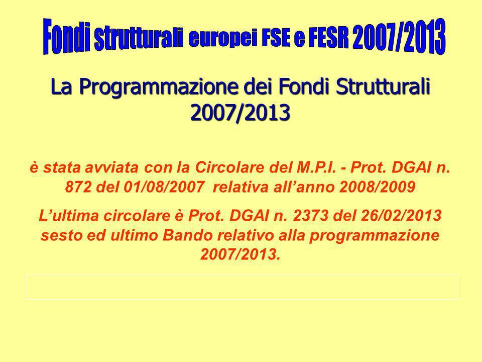 La Programmazione dei Fondi Strutturali 2007/2013 è stata avviata con la Circolare del M.P.I. - Prot. DGAI n. 872 del 01/08/2007 relativa all'anno 200