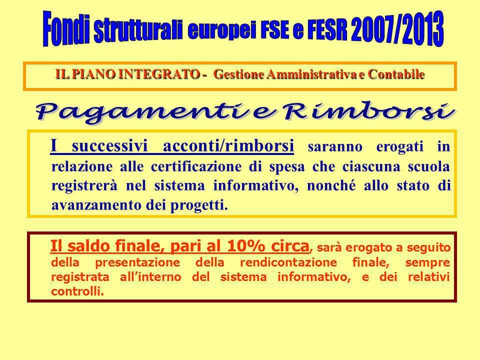 IL PIANO INTEGRATO - Gestione Amministrativa e Contabile I successivi acconti/rimborsi saranno erogati in relazione alle certificazione di spesa che c