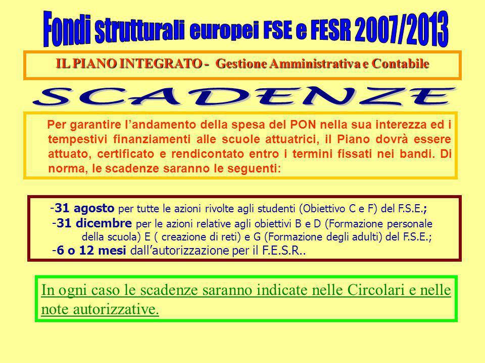 IL PIANO INTEGRATO - Gestione Amministrativa e Contabile Per garantire l'andamento della spesa del PON nella sua interezza ed i tempestivi finanziamen
