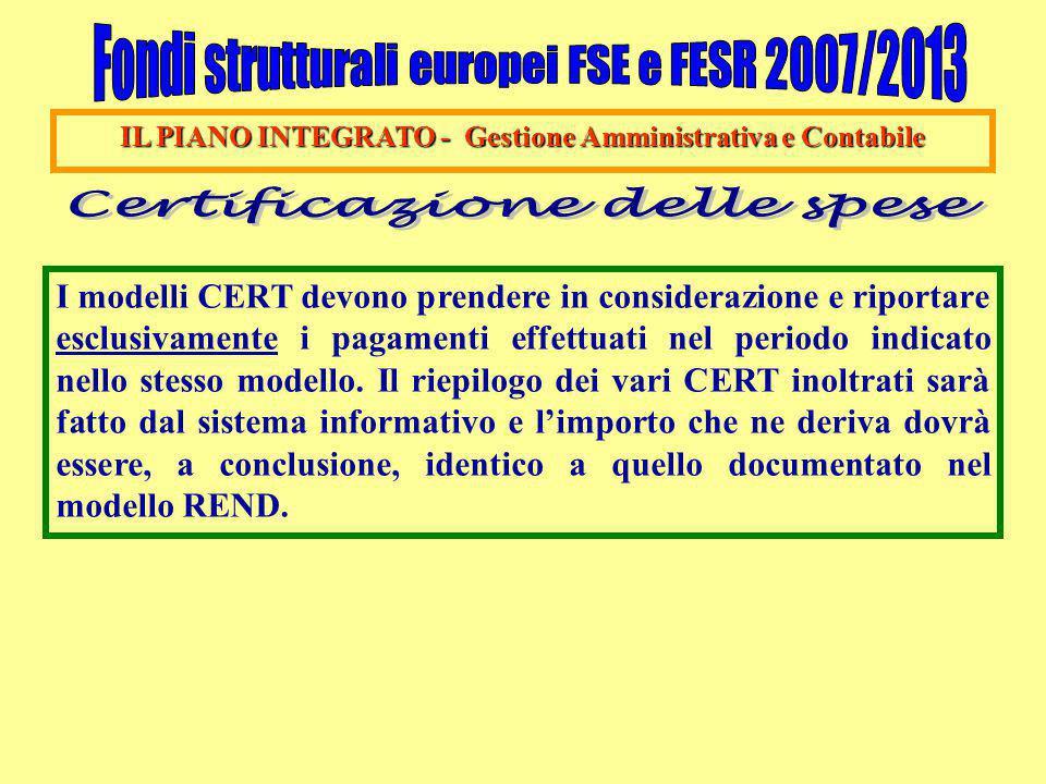 IL PIANO INTEGRATO - Gestione Amministrativa e Contabile I modelli CERT devono prendere in considerazione e riportare esclusivamente i pagamenti effet