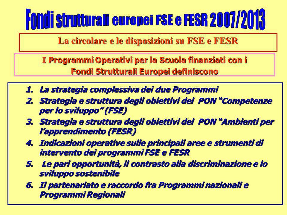 La circolare e le disposizioni su FSE e FESR I Programmi Operativi per la Scuola finanziati con i Fondi Strutturali Europei definiscono 1.La strategia complessiva dei due Programmi 2.Strategia e struttura degli obiettivi del PON Competenze per lo sviluppo (FSE) 3.Strategia e struttura degli obiettivi del PON Ambienti per l'apprendimento (FESR) 4.Indicazioni operative sulle principali aree e strumenti di intervento dei programmi FSE e FESR 5.