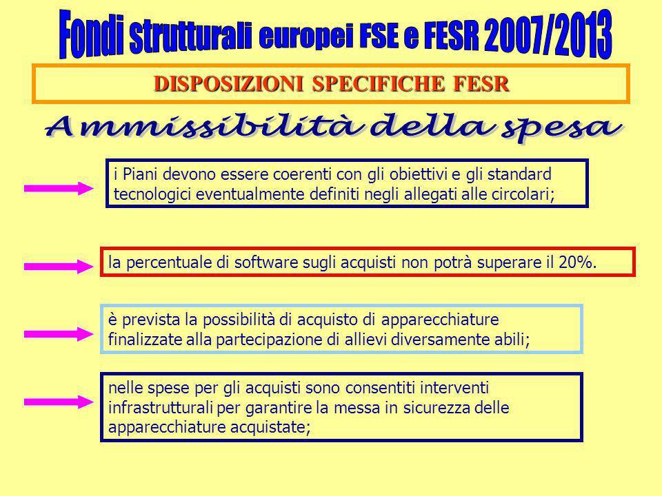 DISPOSIZIONI SPECIFICHE FESR i Piani devono essere coerenti con gli obiettivi e gli standard tecnologici eventualmente definiti negli allegati alle ci