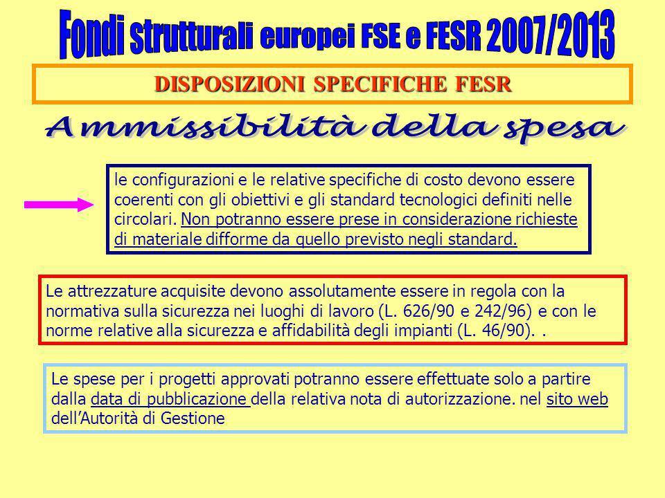 DISPOSIZIONI SPECIFICHE FESR le configurazioni e le relative specifiche di costo devono essere coerenti con gli obiettivi e gli standard tecnologici definiti nelle circolari.