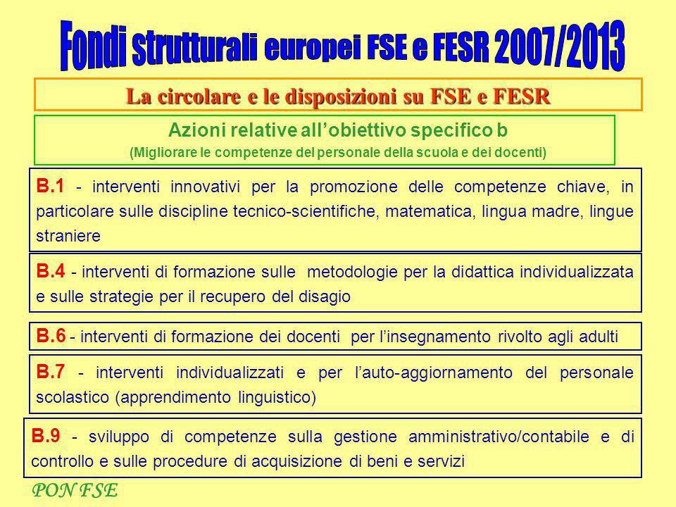 La circolare e le disposizioni su FSE e FESR Azioni relative all'obiettivo specifico b (Migliorare le competenze del personale della scuola e dei doce