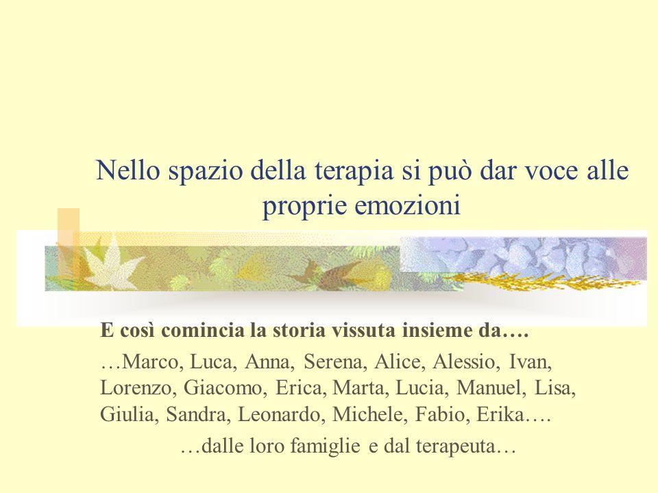 Nello spazio della terapia si può dar voce alle proprie emozioni E così comincia la storia vissuta insieme da…. …Marco, Luca, Anna, Serena, Alice, Ale