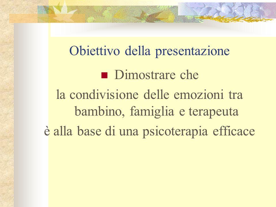 Obiettivo della presentazione Dimostrare che la condivisione delle emozioni tra bambino, famiglia e terapeuta è alla base di una psicoterapia efficace