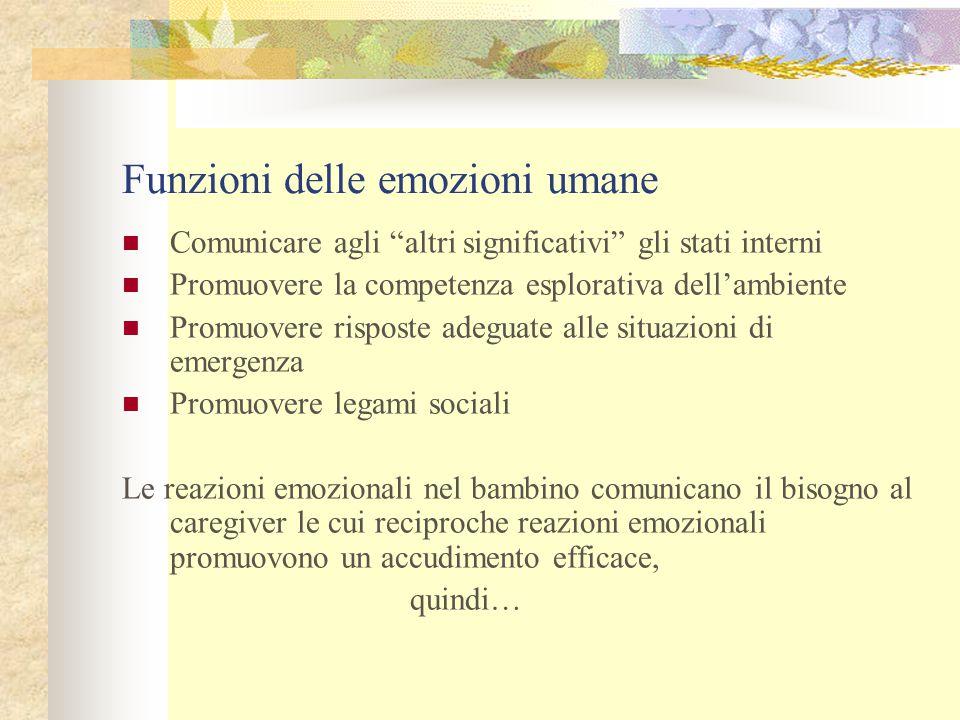 """Funzioni delle emozioni umane Comunicare agli """"altri significativi"""" gli stati interni Promuovere la competenza esplorativa dell'ambiente Promuovere ri"""