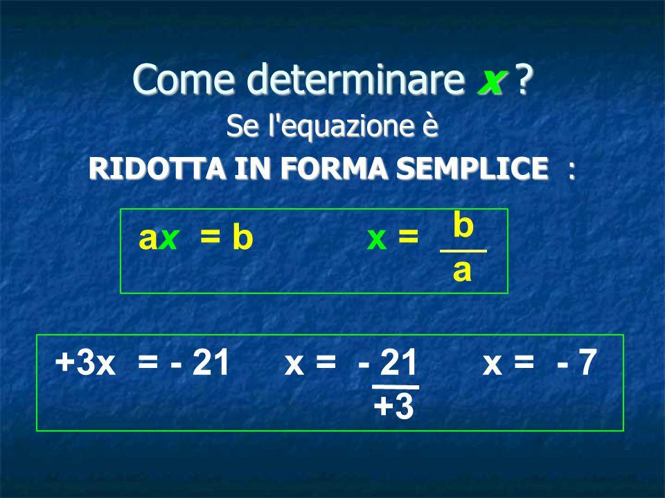 Come determinare x .