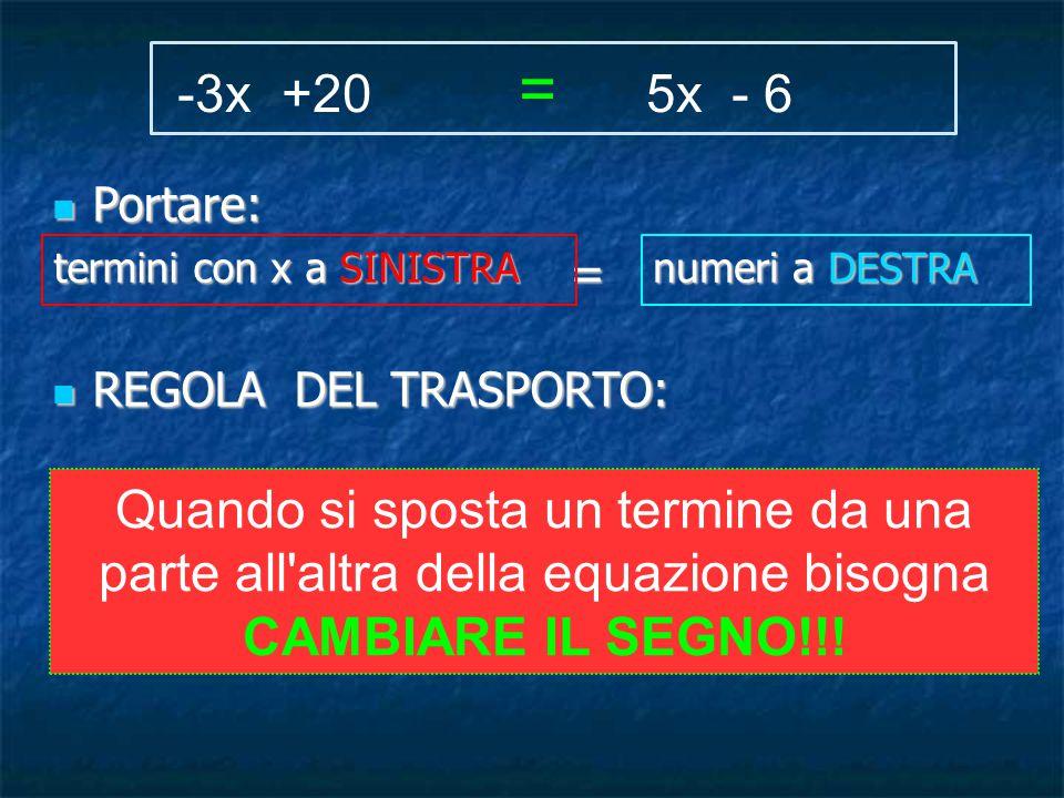 Portare: Portare: = REGOLA DEL TRASPORTO: REGOLA DEL TRASPORTO: -3x +20 = 5x - 6 termini con x a SINISTRA numeri a DESTRA Quando si sposta un termine da una parte all altra della equazione bisogna CAMBIARE IL SEGNO!!!