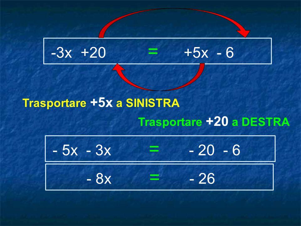 -3x +20 = +5x - 6 - 5x - 3x = - 20 - 6 Trasportare +5x a SINISTRA Trasportare +20 a DESTRA - 8x = - 26