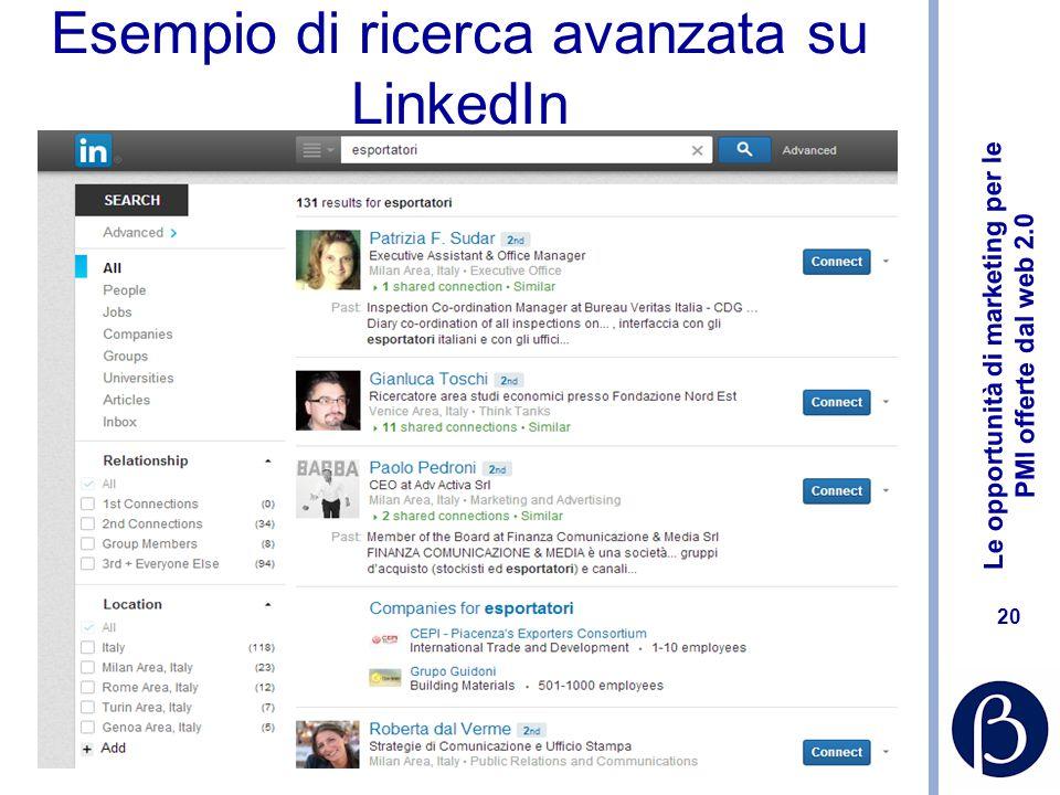 Le opportunità di marketing per le PMI offerte dal web 2.0 20 Esempio di ricerca avanzata su LinkedIn