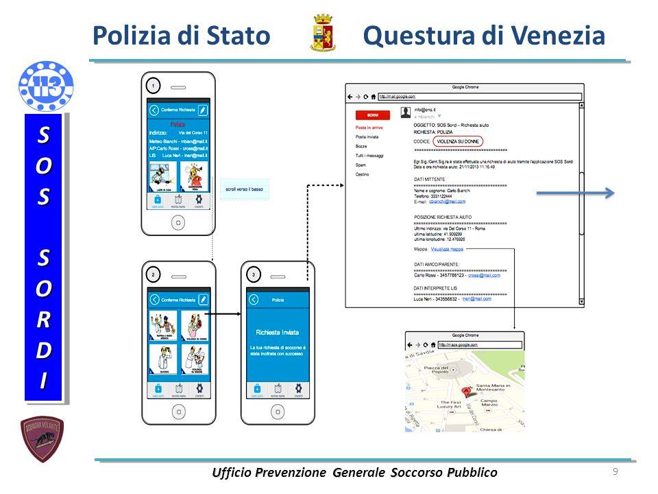 9 Polizia di Stato Questura di Venezia UPGSP Ufficio Prevenzione Generale Soccorso Pubblico SOSSORDISOSSORDI