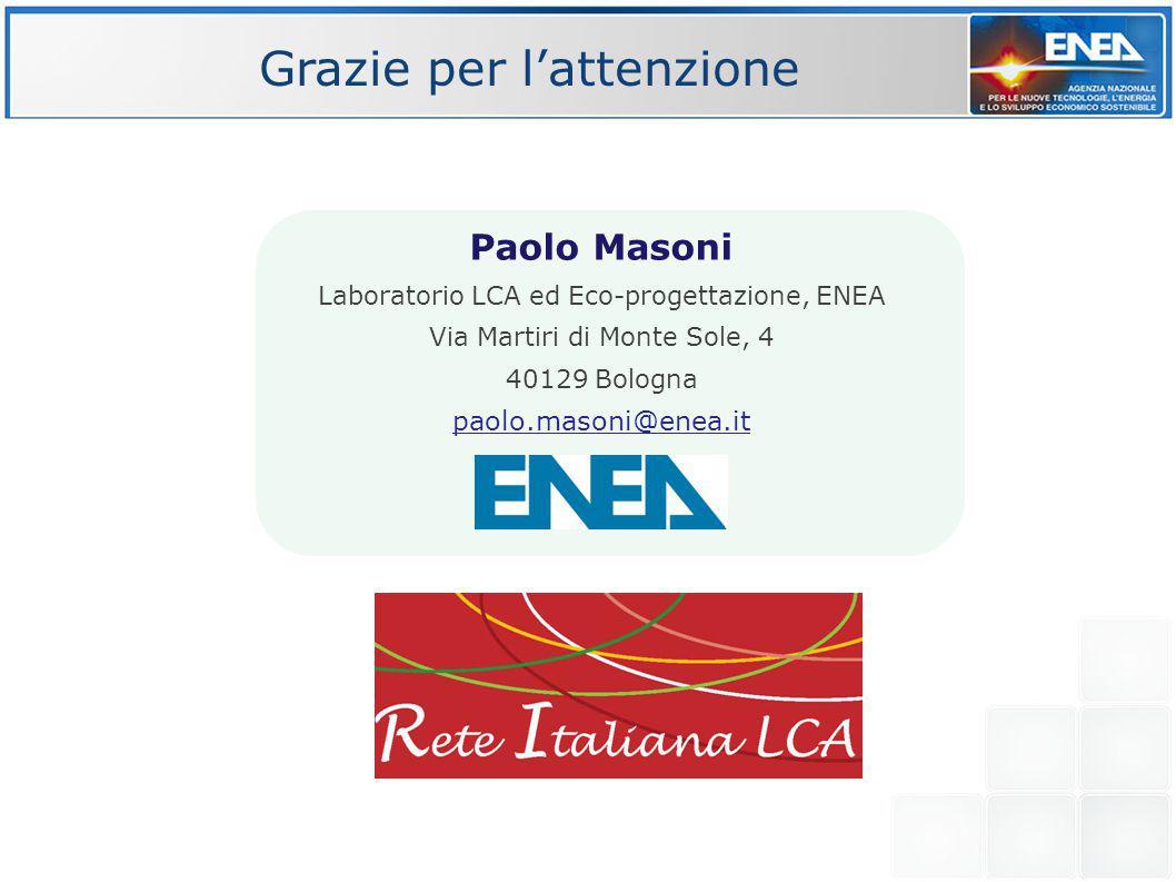 Laboratorio LCA ed Eco-progettazione, ENEA Via Martiri di Monte Sole, 4 40129 Bologna paolo.masoni@enea.it Paolo Masoni Grazie per l'attenzione