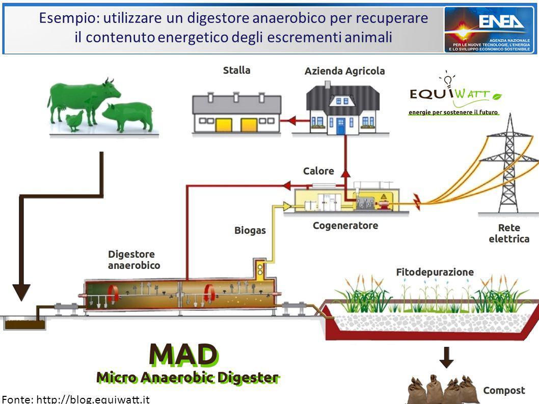 Esempio: utilizzare un digestore anaerobico per recuperare il contenuto energetico degli escrementi animali Fonte: http://blog.equiwatt.it