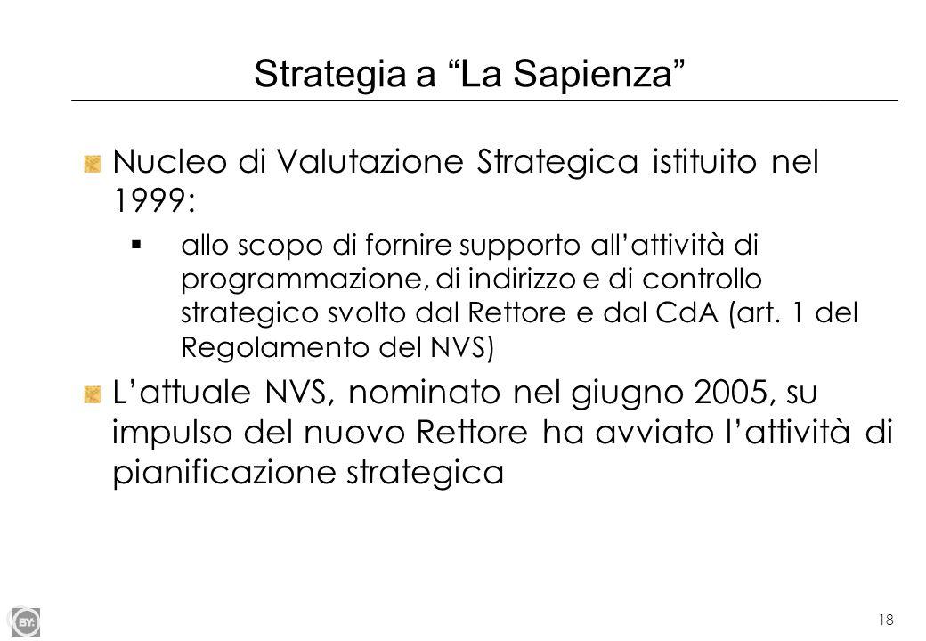 """18 Strategia a """"La Sapienza"""" Nucleo di Valutazione Strategica istituito nel 1999:  allo scopo di fornire supporto all'attività di programmazione, di"""