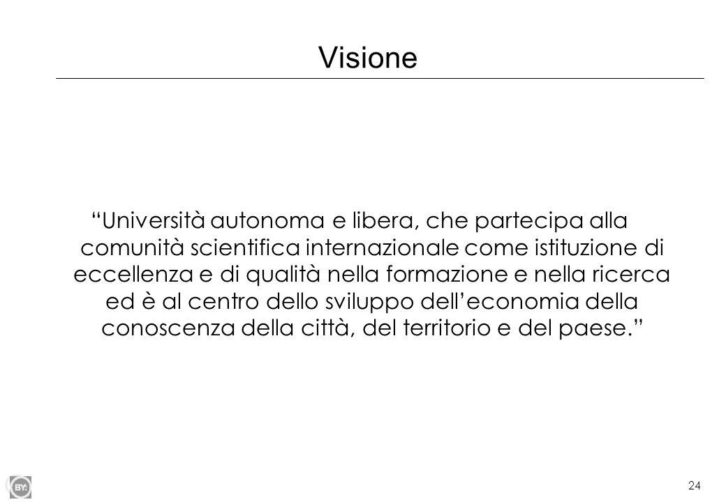 """24 Visione """"Università autonoma e libera, che partecipa alla comunità scientifica internazionale come istituzione di eccellenza e di qualità nella for"""