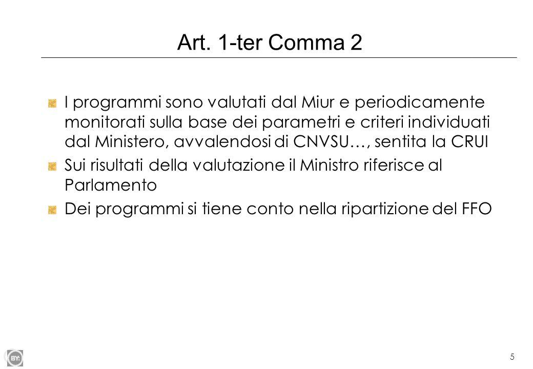 5 Art. 1-ter Comma 2 I programmi sono valutati dal Miur e periodicamente monitorati sulla base dei parametri e criteri individuati dal Ministero, avva