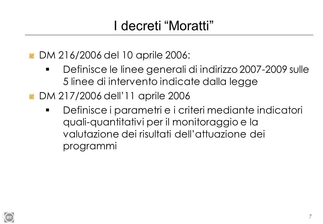 """7 I decreti """"Moratti"""" DM 216/2006 del 10 aprile 2006:  Definisce le linee generali di indirizzo 2007-2009 sulle 5 linee di intervento indicate dalla"""