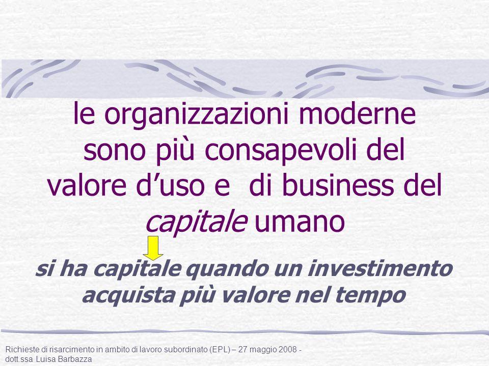 le organizzazioni moderne sono più consapevoli del valore d'uso e di business del capitale umano si ha capitale quando un investimento acquista più va
