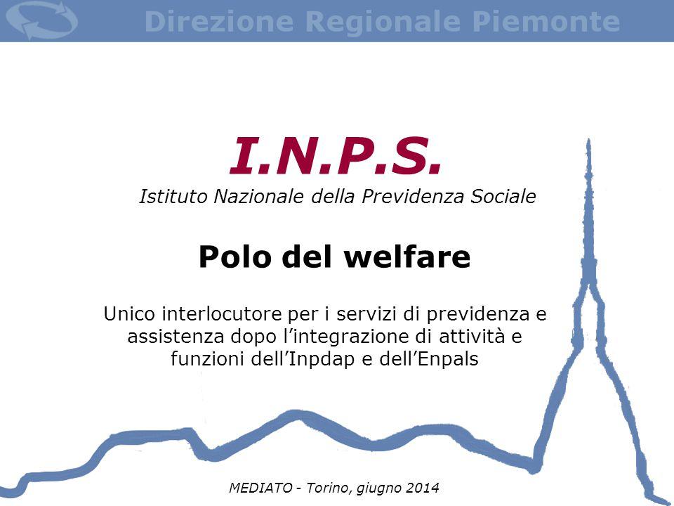 I.N.P.S. Istituto Nazionale della Previdenza Sociale Polo del welfare MEDIATO - Torino, giugno 2014 Unico interlocutore per i servizi di previdenza e