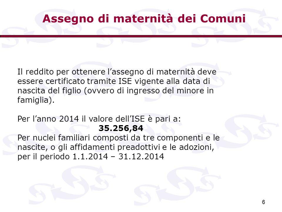 7 L'importo dell'assegno mensile di maternità, spettante nella misura intera, per le nascite dal 1.1.2014 al 31.12.2014, gli affidamenti preadottivi e le adozioni, è pari a euro 338,21 mensili per cinque mensilità e quindi ad un valore complessivo di euro 1691,05.