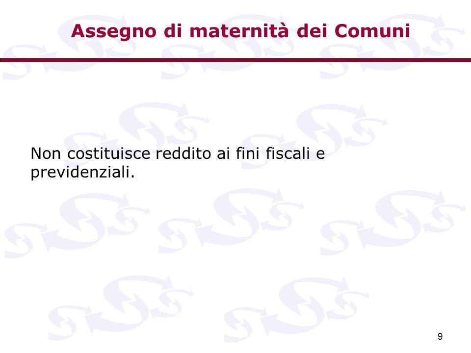 9 Non costituisce reddito ai fini fiscali e previdenziali. Assegno di maternità dei Comuni