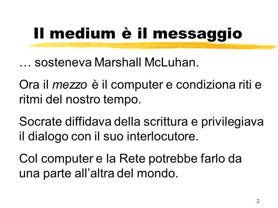 2 Il medium è il messaggio … sosteneva Marshall McLuhan.
