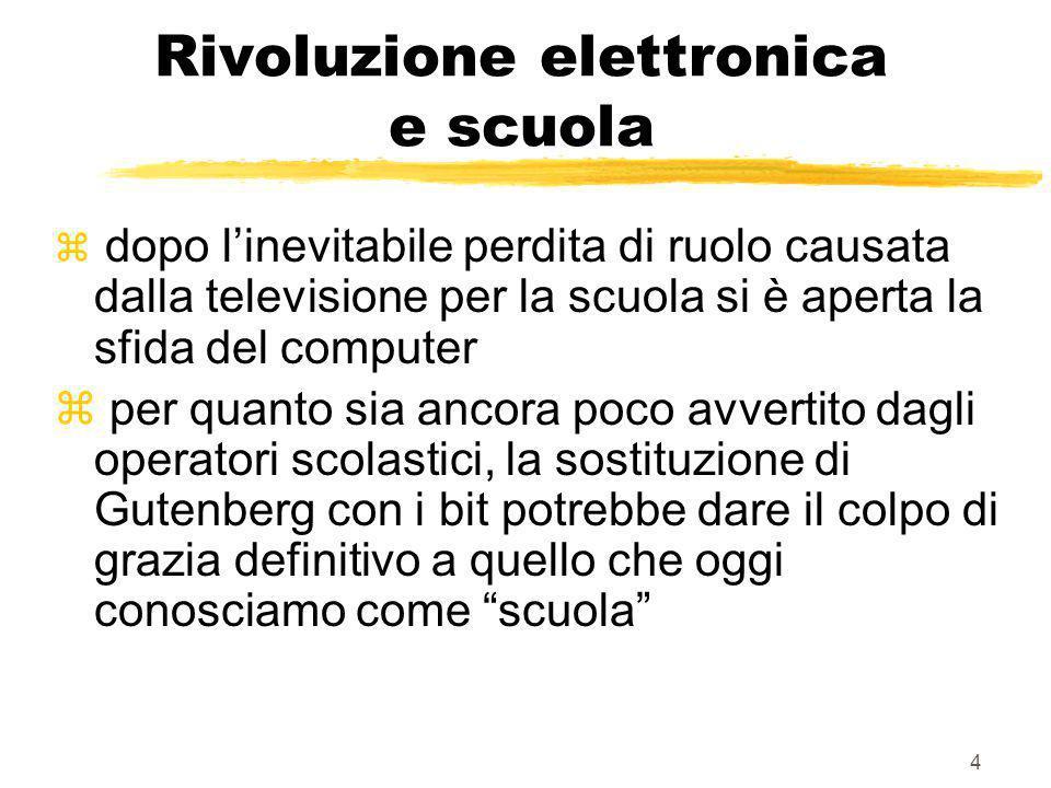 3 La rivoluzione elettronica z ha aumentato la quantità di comunicazione e comunicatori z ha influito profondamente sulla qualità del prodotto comunic