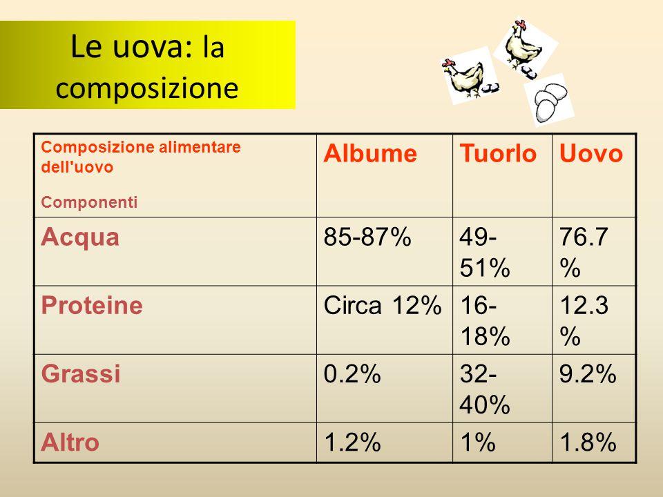 Composizione alimentare dell'uovo Componenti AlbumeTuorloUovo Acqua85-87%49- 51% 76.7 % ProteineCirca 12%16- 18% 12.3 % Grassi0.2%32- 40% 9.2% Altro1.